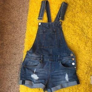 Blue jean overall shorts